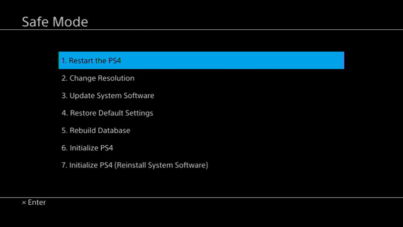 Safe mode PlayStation