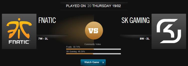 League of Legends Fnatic vs SK Gaming