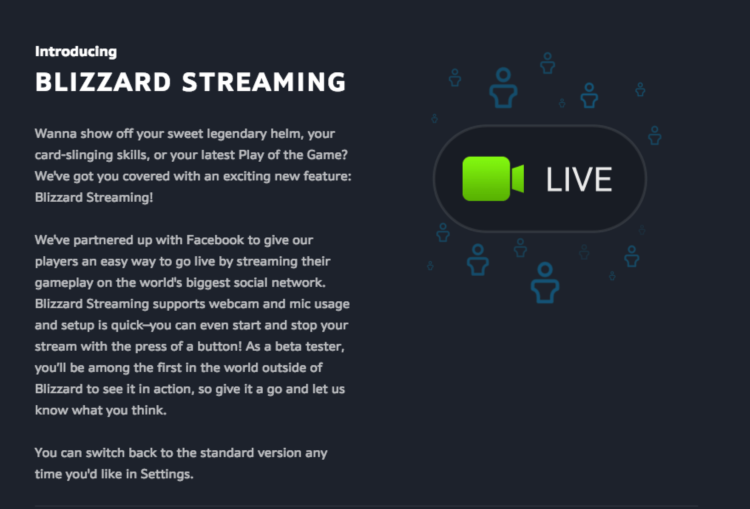 Blizzard  Streaming Facebook