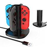 GameWill Nintendo Switch Joy Con Charging Dock Caricatore per Joy-Con per 4 controller Joycon (nero)