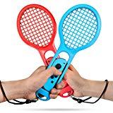 Keten Racchetta da Tennis per Nintendo Switch, Pacco Doppia Racchetta da Tennis da gioco per Nintendo Switch Controller Joy-Con per Mario Tennis Aces Gioco (1X Blu & 1X Rossa)