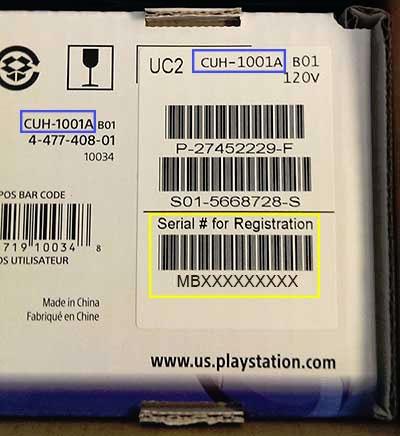 Seriale Scatola PS4 Fat
